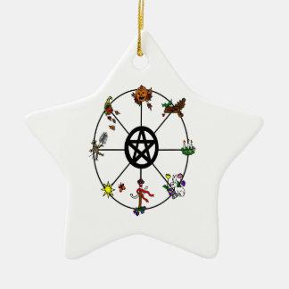 Rueda pagana del ornamento del año adorno navideño de cerámica en forma de estrella