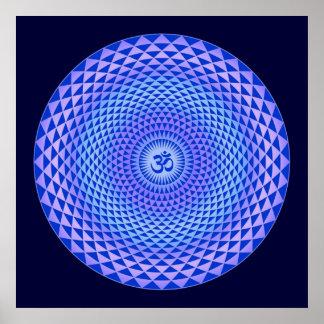 Rueda púrpura OM de la meditación de la flor de Póster