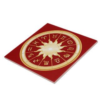 Rueda roja del zodiaco azulejo cuadrado grande