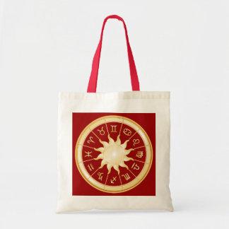Rueda roja del zodiaco bolsa tela barata