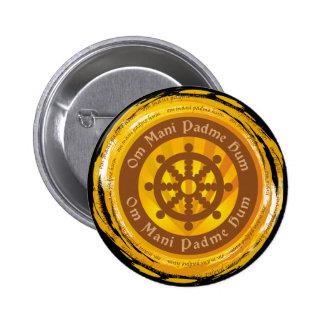 Rueda tibetana de Dharma del mantra Pin Redondo De 2 Pulgadas