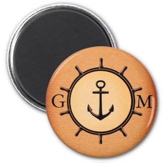 Rueda y ancla náuticas de cobre amarillo de imán redondo 5 cm