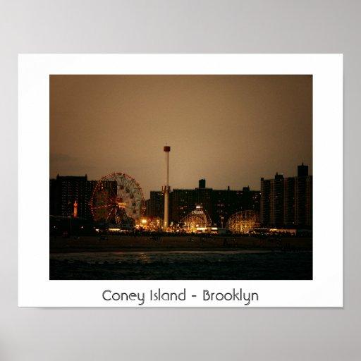 Rueda y ciclón - Coney Island de la maravilla Póster
