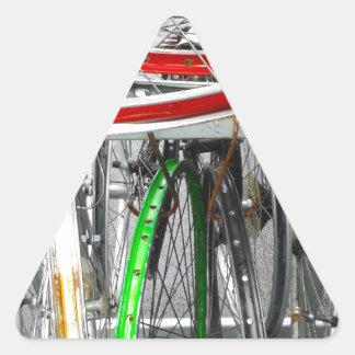 Ruedas de bicicleta pegatina triangular