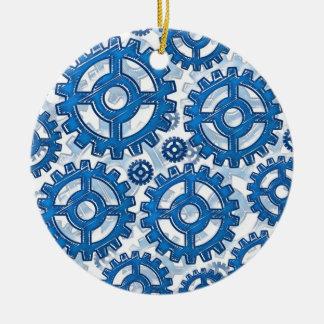 Ruedas de engranaje azules adorno navideño redondo de cerámica