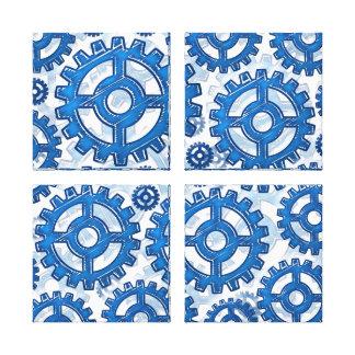 Ruedas de engranaje azules lona estirada galerias