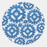 Ruedas de engranaje azules pegatinas