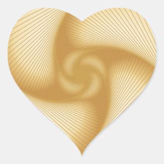 Ruedas de hilado de oro pegatina en forma de corazón