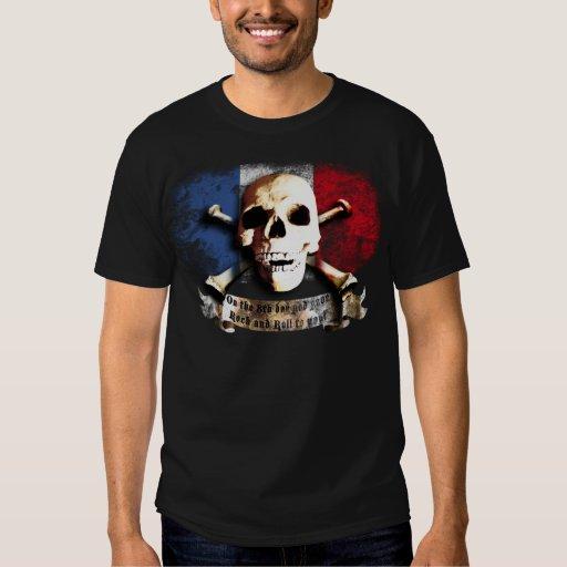 ruedas flag rock and skull and guitars playera