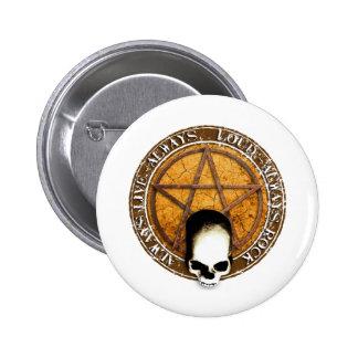 Ruedas Pentagram rock and skull Pin