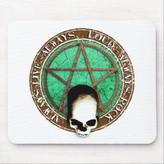 Ruedas Pentagram rock and skull Tapetes De Ratones