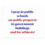Ruego en escuelas públicas tarjeta postal