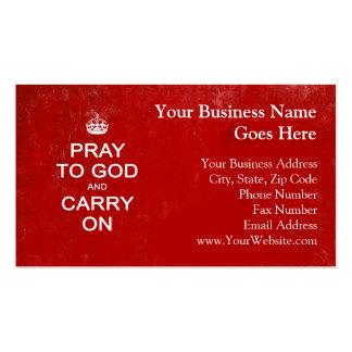 Ruegue a dios y continúe, guarde la parodia plantillas de tarjetas de visita