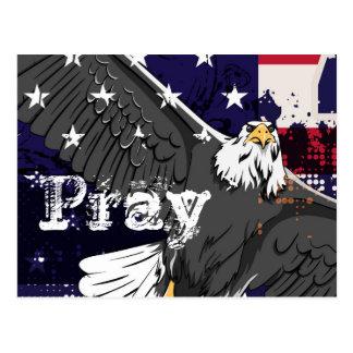 Ruegue - bandera americana y postal de Eagle