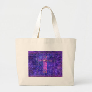 Ruegue - la cruz cristiana moderna del tema painti bolsas lienzo