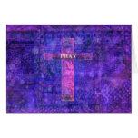 Ruegue - la cruz cristiana moderna del tema painti felicitaciones