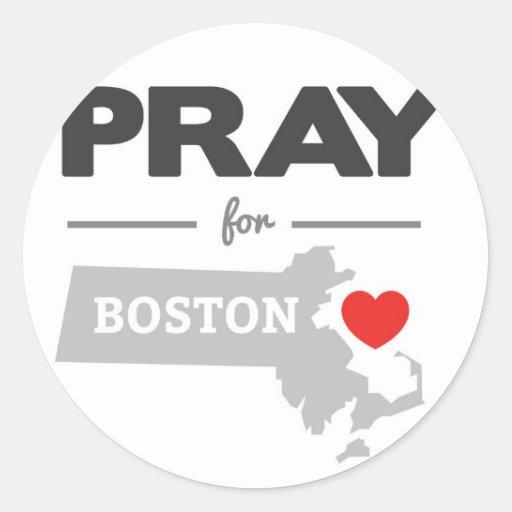 Ruegue para Boston Pegatina Redonda