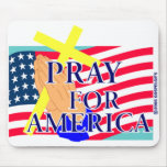 Ruegue para el diseño cristiano de América Tapetes De Ratón