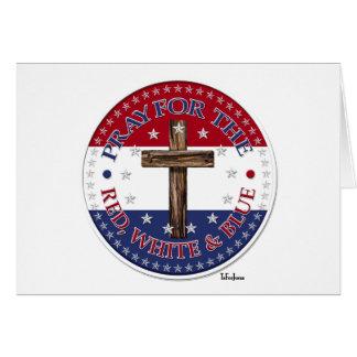 Ruegue para el el rojo, blanco y el azul con la tarjeta de felicitación