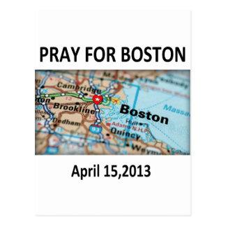 Ruegue para el mapa de Boston Tarjeta Postal