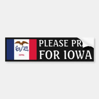 Ruegue para Iowa Pegatina Para Auto