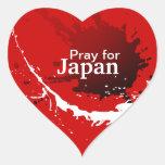 Ruegue para Japón Calcomania De Corazon Personalizadas