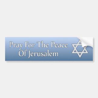 Ruegue para la paz de la estrella de Jerusalén de Pegatina Para Auto