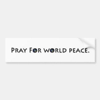 Ruegue para la paz de mundo pegatina para auto