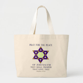 Ruegue para la paz del tote de Jerusalén Bolsa Tela Grande