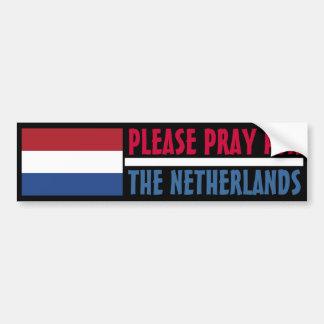 Ruegue para los Países Bajos Pegatina De Parachoque