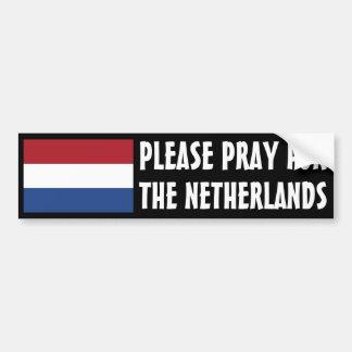 Ruegue para los Países Bajos Etiqueta De Parachoque