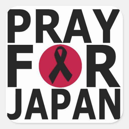 Ruegue para los pegatinas de Japón Calcomanía Cuadradas