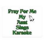 Ruegue para mí que mi tía canta Karaoke Tarjeta Postal