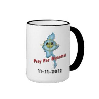 Ruegue para Myanmar Tazas De Café