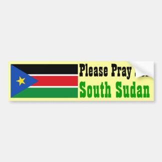 Ruegue para Sudán del sur Pegatina De Parachoque