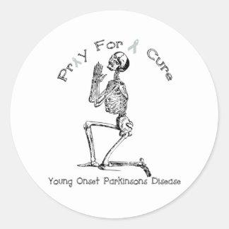 Ruegue para una Curación-YOPD Etiqueta Redonda