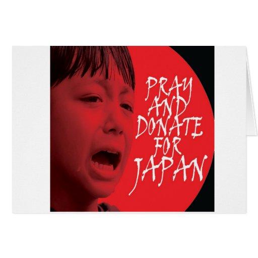 Ruegue y done para Japón Tarjeta De Felicitación