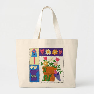 Ruff Patch Garden Design Large Tote Bag
