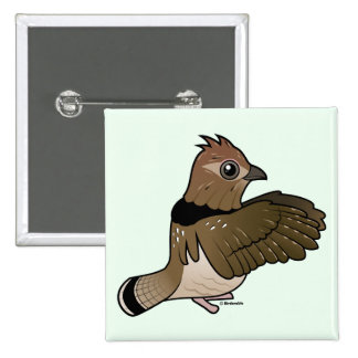 Ruffed Grouse (drumming) Pinback Buttons