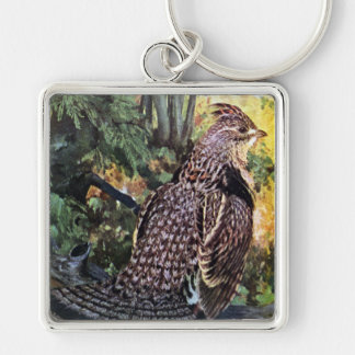Ruffed Grouse in the Forest Silver-Colored Square Keychain