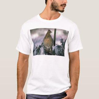 Ruffed grouse perched in a snowy tree T-Shirt