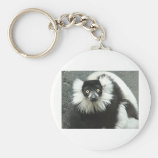 ruffed tailed lemour basic round button keychain