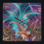 """Ruffle A Few Feathers Fractal Art Wall Clock<br><div class=""""desc"""">A very finely detailed abstract and modern fractal composition with a feather in the exquisite colors of turquoise and amethyst.</div>"""