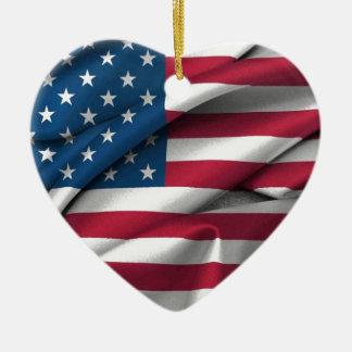 Ruffled America Flag Ceramic Ornament