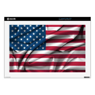 """Ruffled America Flag Decals For 17"""" Laptops"""