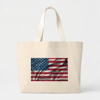 Ruffled America Flag Large Tote Bag