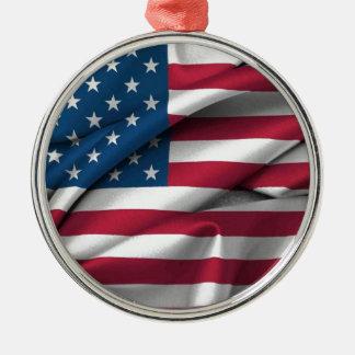 Ruffled America Flag Metal Ornament