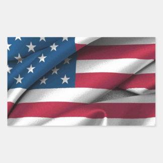 Ruffled America Flag Rectangular Sticker