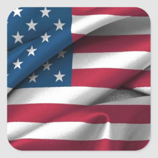 Ruffled America Flag Square Sticker