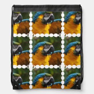 Ruffled Blue and Gold Macaw Drawstring Bag